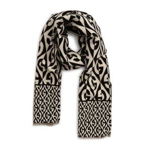 Gucci GG Rhombus Logo Jacquard Scarf in Ivory and